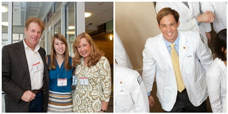 Glenn and Teresa Elia are co-chairs of the MPC: They are the parents of Gregory MD'15 (pictured at right) and Julia '17 (center)