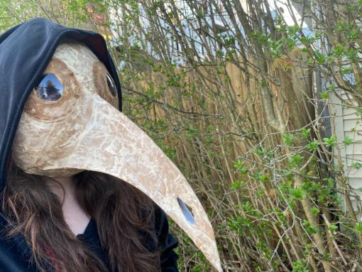 "Hannah Joyce's creative project (""Plague Doctor's Mask"") that she did for Jim McIlwain's module on ""Baneful Visitors: Plague and Leprosy"".  April 22, 2020  Medieval Studies 0360 Spring 2020."