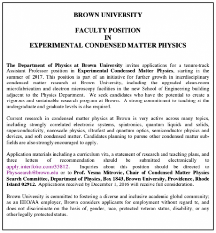 Faculty Position Opening: Experimental Condensed Matter