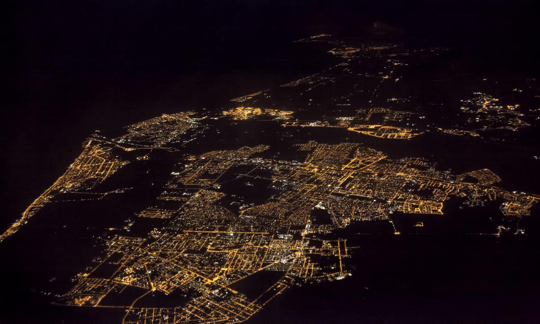 a city from the sky at night