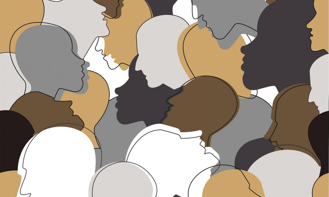 graphic of a collage of silhouettes of heads in various shads of white, beige, gray, and brown