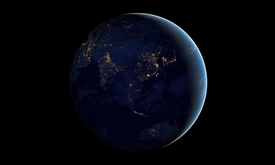 Image of earth at night from outer space