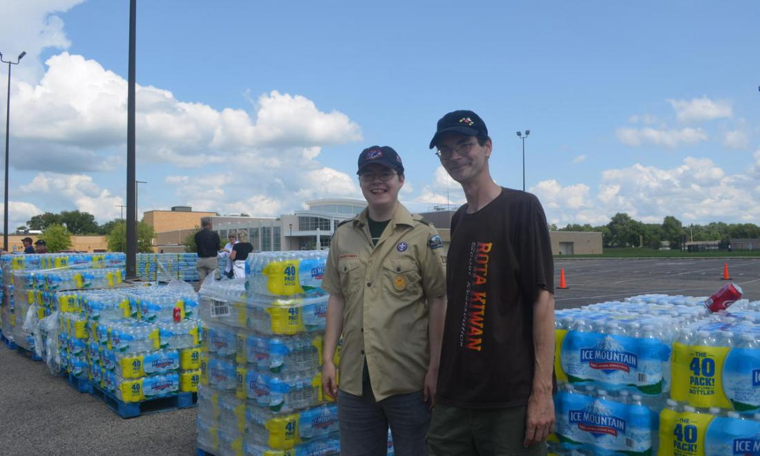 Distribution site with cases of bottled water