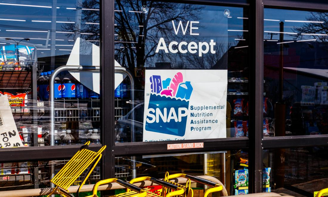SNAP sign outside a supermarket