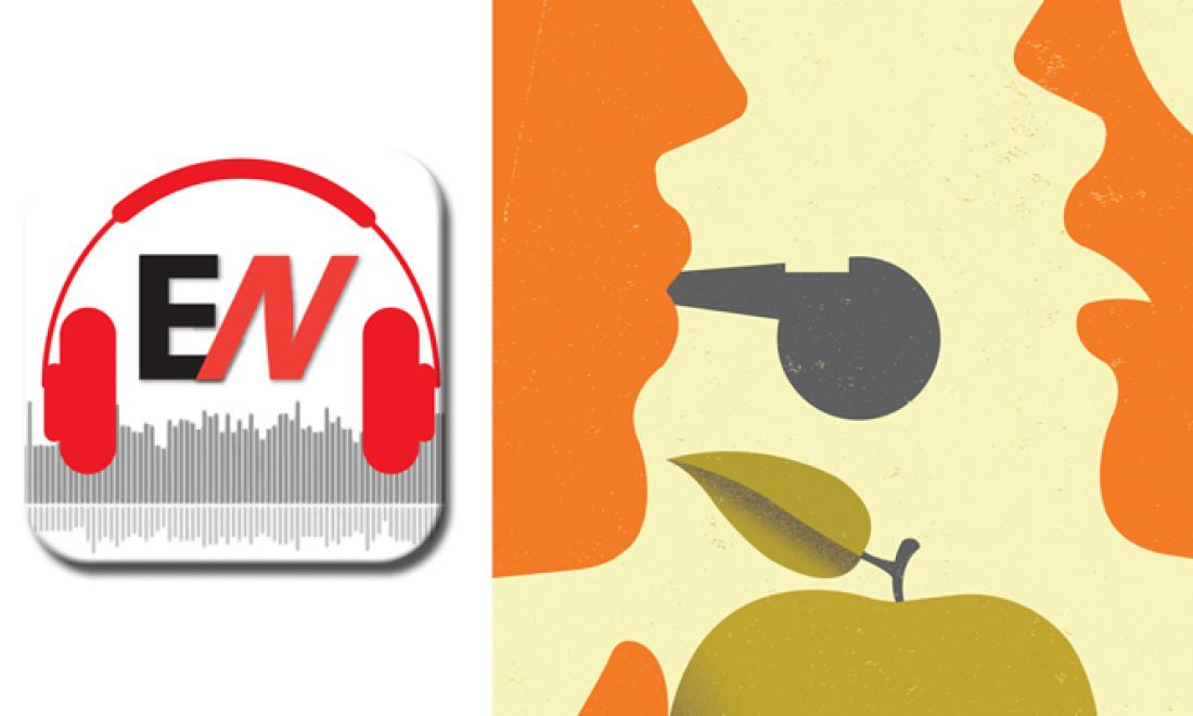 EN logo and graphic of person blowing whistle and holding an apple