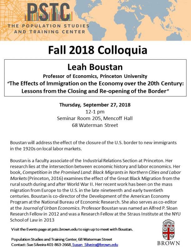 Flier for Boustan talk