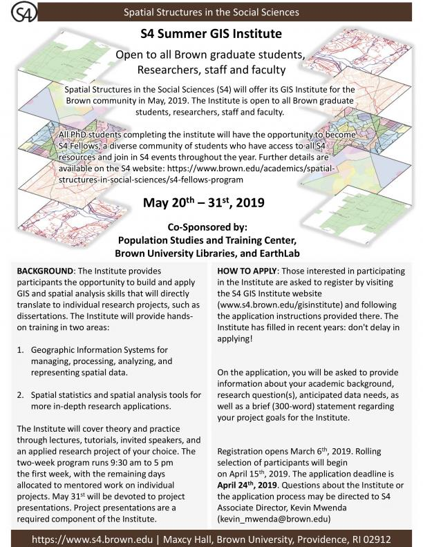 GIS Summer 2019 Institute Flyer