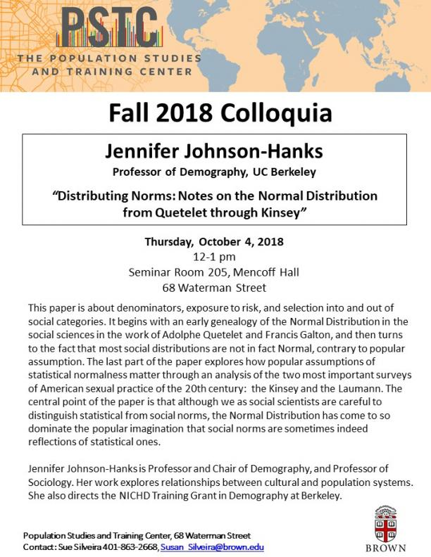 Flier for Johnson-Hanks talk