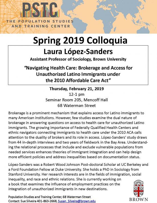 Flyer for Lopez-Sanders talk