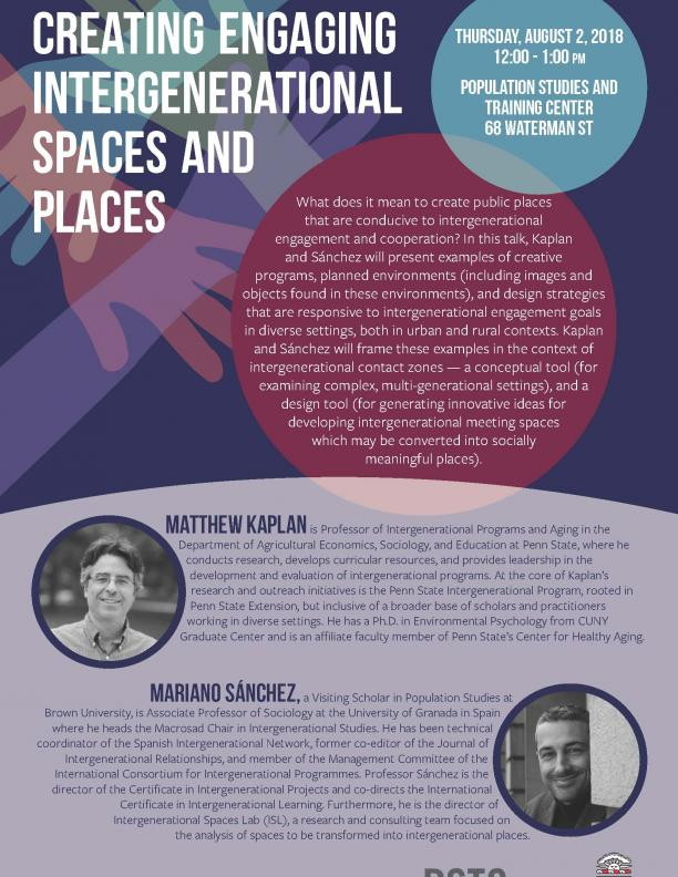 Flier for Intergenerational spaces and places talk