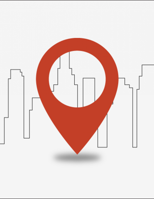graphic of a city skyline with a google maps marker