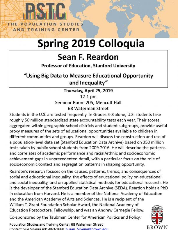 flyer for Reardon talk