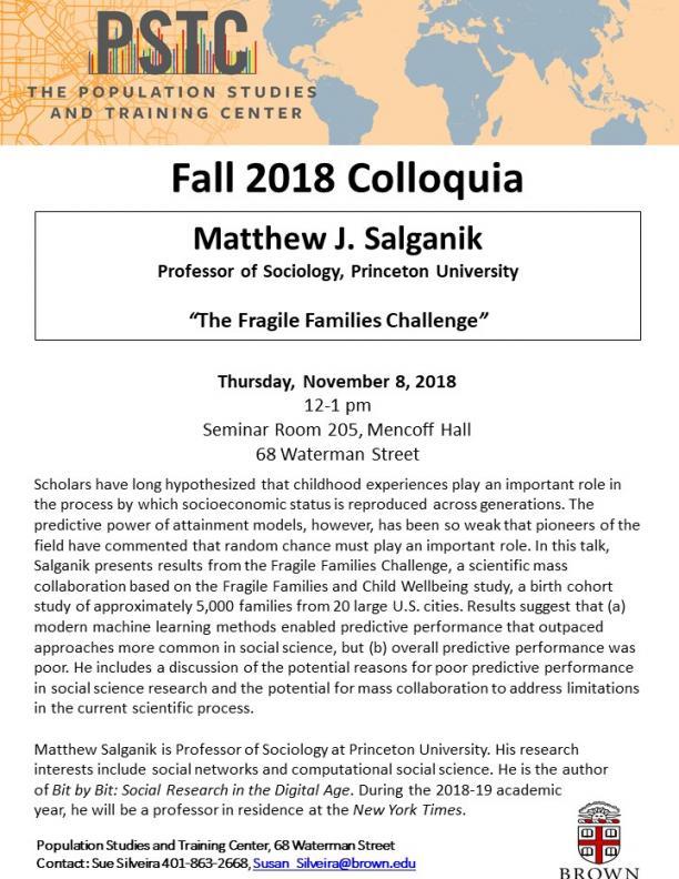 Flier for Salganik talk