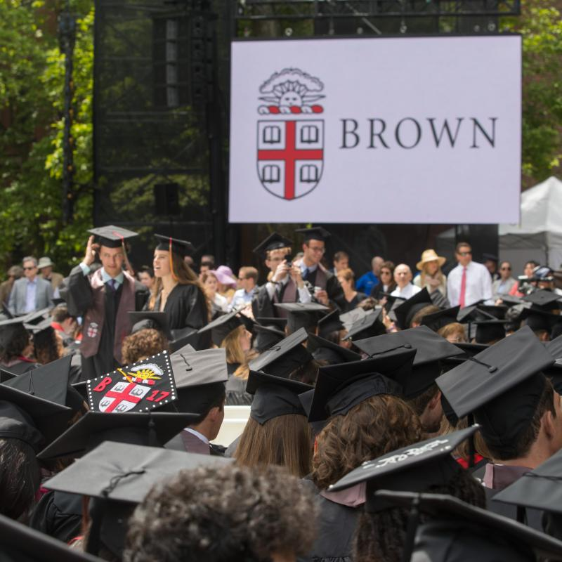 Brown University commencement with rows of graduates