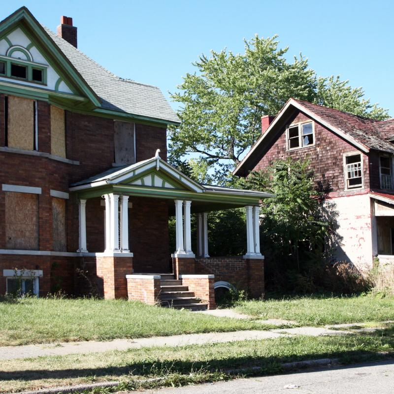 Boarded up homes in Detroit