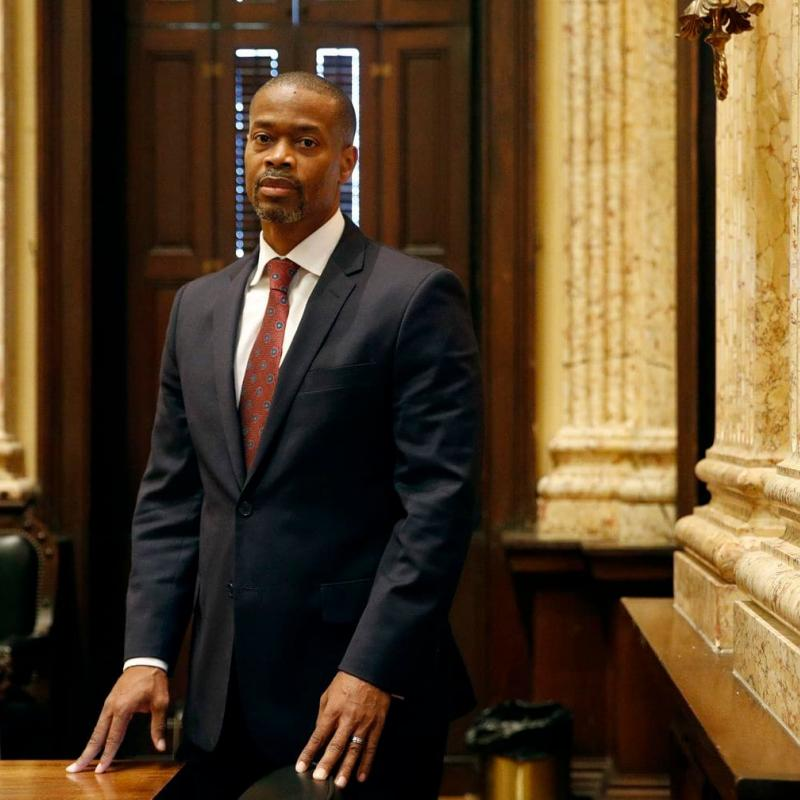 Baltimore City Councilman Leon Pinkett poses for a photo in City Hall in Baltimore.