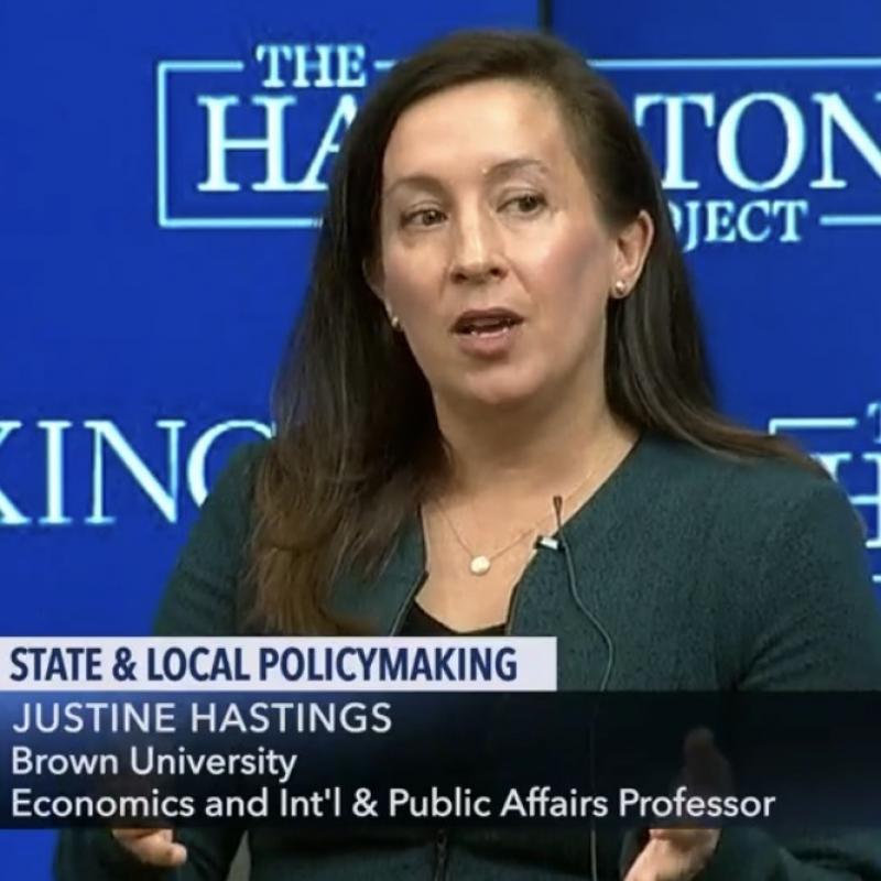 Justine Hastings speaks during a Brookings Institute panel