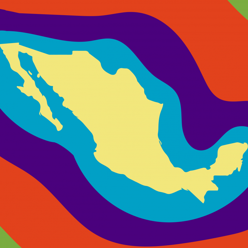 map of Mexico with bright colors around it