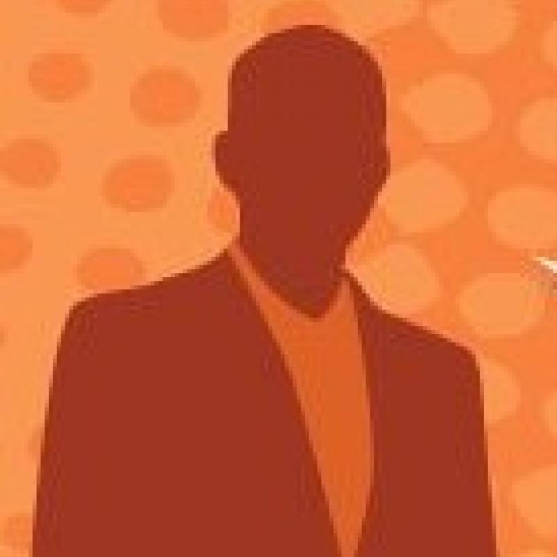 graphic of a man's silhouette in orange