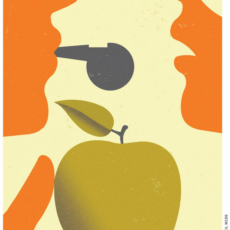 graphic of two faces with one blowing a whistle and holding out an apple