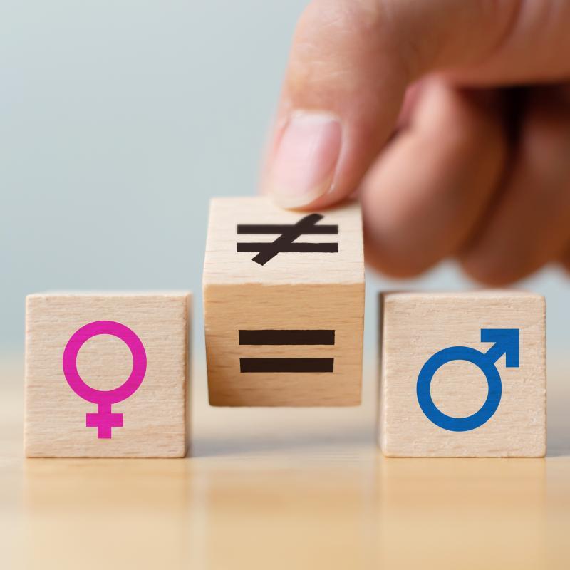 Building blocks representing gender equality