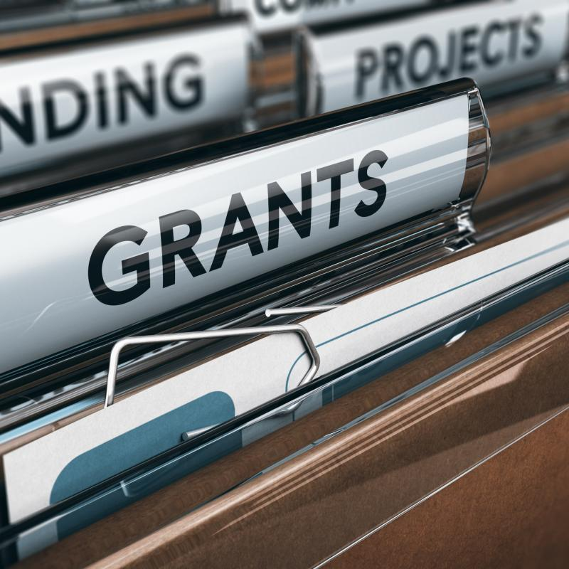 File drawer with grant, funding, and projects tabs