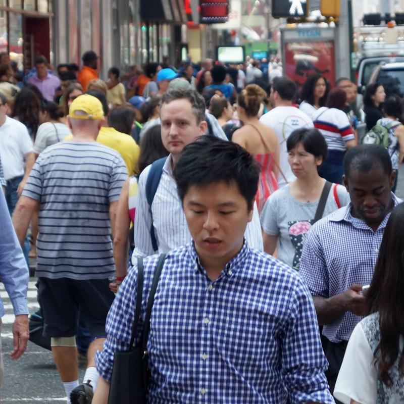 Crowded New York City street