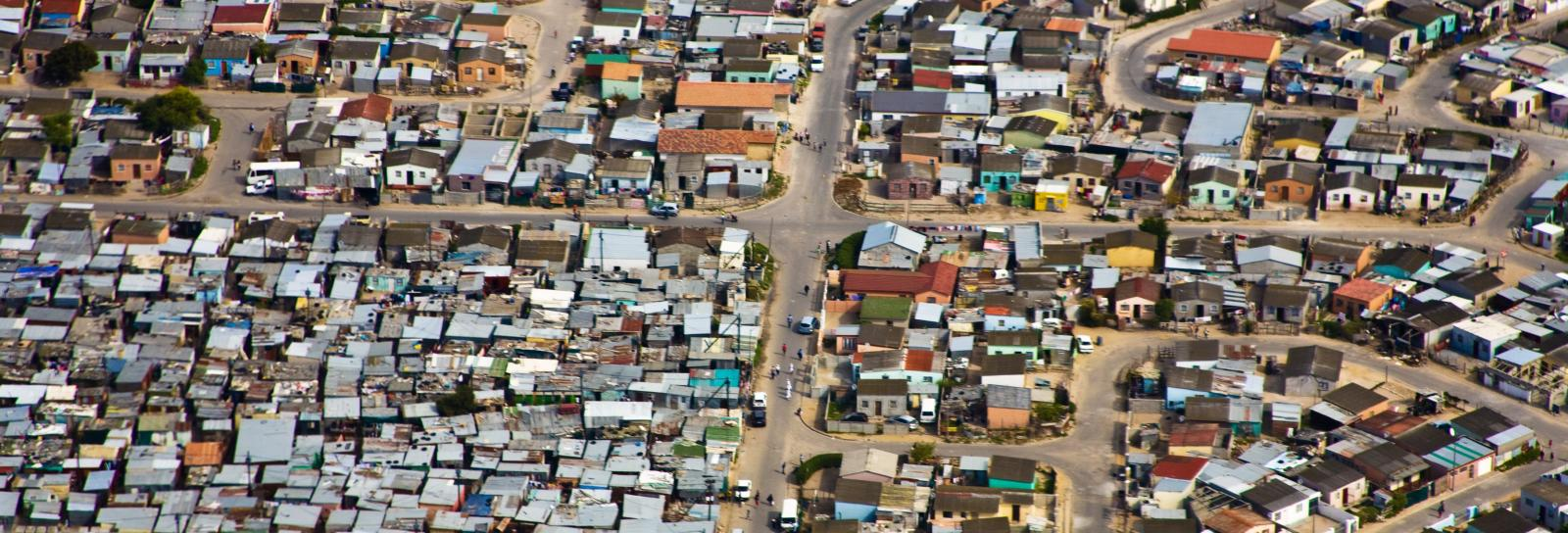 aerial view of informal settlements in Cape Town, South Africa