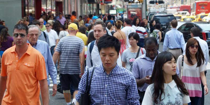 Crowded New York City street