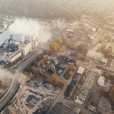 Aerial view of air pollution over city