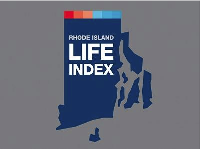 "Image of the state of Rhode Island with text reading ""Rhode Islane Life Index"""