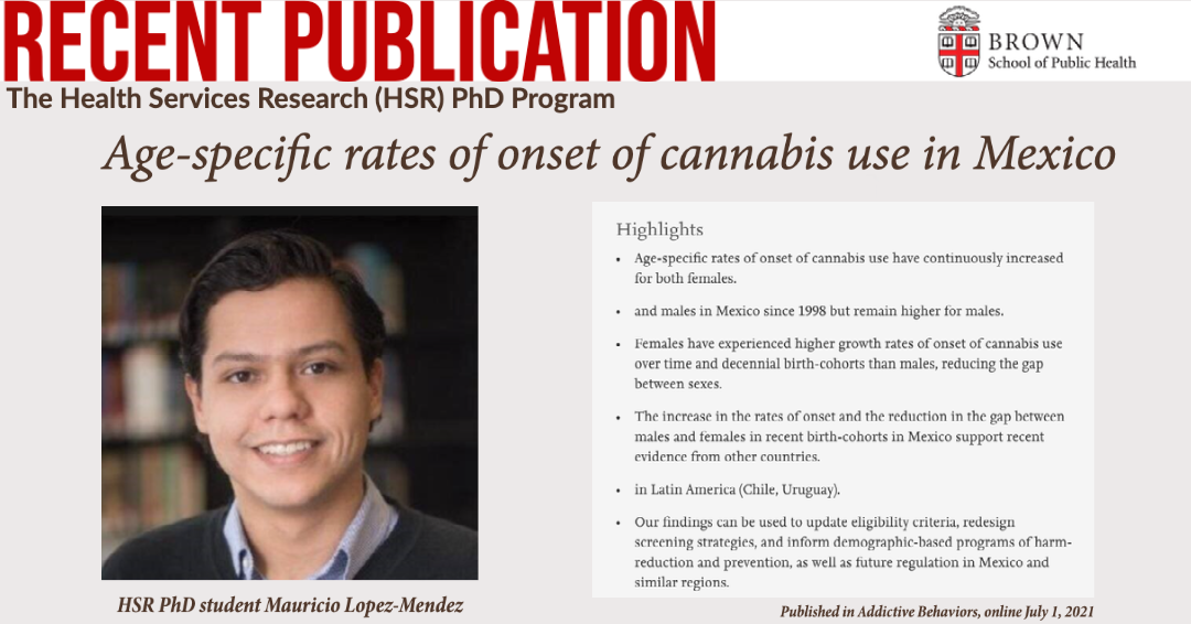 Congratulations to HSR PhD student Mauricio Lopez-Mendez for his recentpublication about age-specific rates of onset of cannabis use in Mexico!