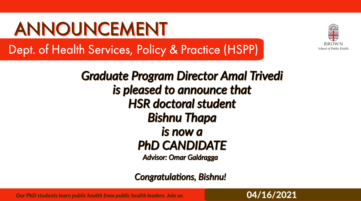 HSR Student Bishnu Thapa is now a PhD Candidate