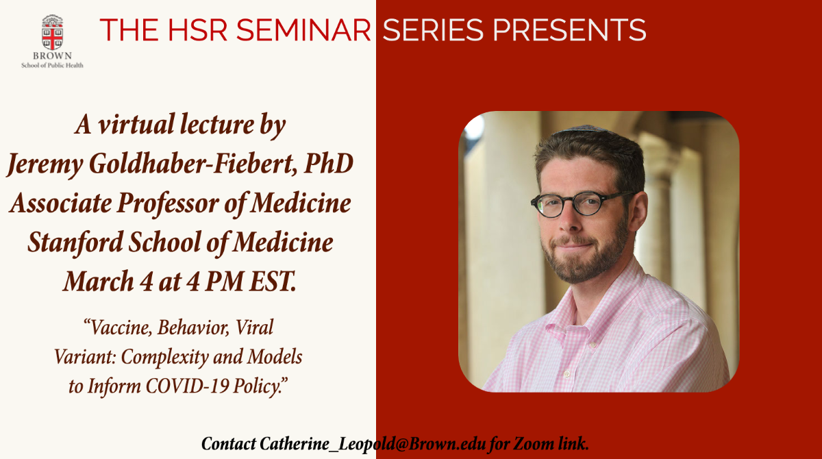The HSR Seminar Series was pleased to present a lecture by Dr. Jeremy Goldhaber-Fieberton 3/17 at 4 PM.