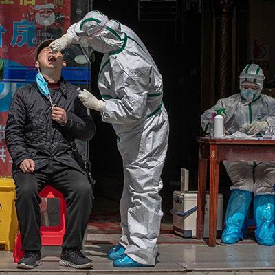 Man being tested for coronavirus