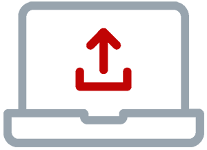 Icon of a open briefcase with a red upload icon
