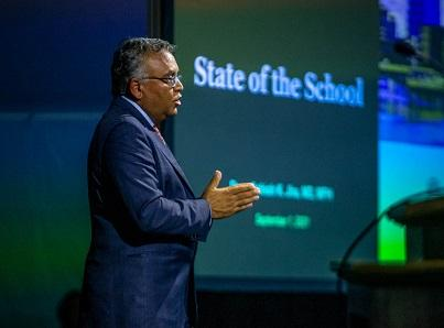 Dean Jha speaking at the State of the School