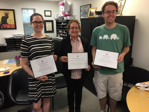 2017 SEAS Awards Recipients: Student and Faculty SEAS Awards winners holding awards and smiling