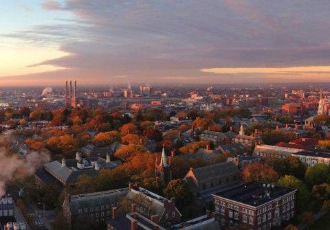 Aerial view of campus at sunrise
