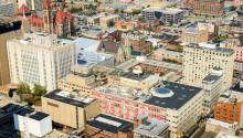 areal view of building rooftops in Cincinatti