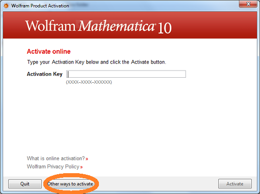 Mathematica for Windows - Other ways to activate: Step #4