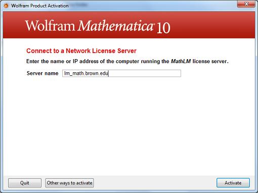 Mathematica for Windows - Enter server name: Step #6