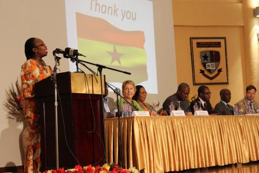 Prof. Margaret Lartey, Project Director of the Ghana-Brown Academic Partnership, closes the Summit's opening ceremony.