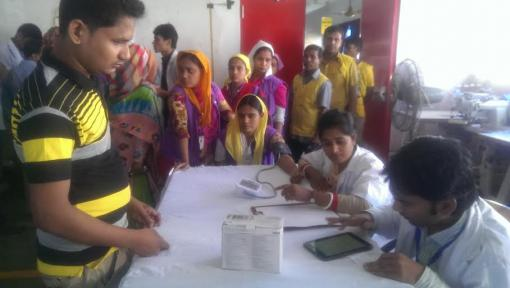 Health Workers of the garment factories are performing health screening of the garment workers.