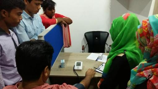 The HAEFA doctors are training the Health Workers of the Garment Factories about health education, hygiene and measurement procedures for Blood Pressure, Blood Glucose and Anemia.