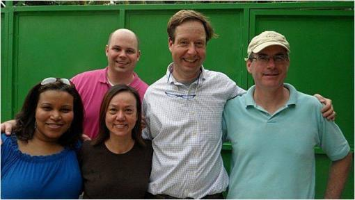 (l-r) Drs. Sybil Cineas, Michael Koster, Susan Cu-Uvin and Timothy Flanigan with Deacon Patrick Moynihan '87, president of The Haitian Project.