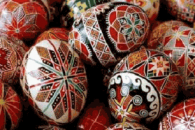 Ukrainian Pysansky: Ukraine has rich cultural and art traditions including pysanky (shown here), which are intricately decorated Ukrainian Easter eggs.