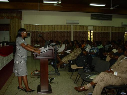 Dr. Margaret Lartey (Univ. of Ghana) speaking at a Continuing Medical Education training in January, 2012. In collaboration with the National AIDS Control Program, the sessions were attended by medical officers, nurses, counselors, and pharmacists.