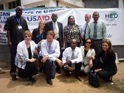 Partnership Launch (Accra, Ghana): Representatives from Univ. of Ghana College of Health Sciences, Brown University, Yale University, Higher Education for Development, USAID, and the Association of Public and Land-grant Universities at the partnership launch in September, 2011.
