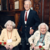 Beatrice Wattman Miller (left), with Lillian Wentworth and Al Kessler at the Hope Club luncheon for the 75th reunion of the class of 1935, 2010.